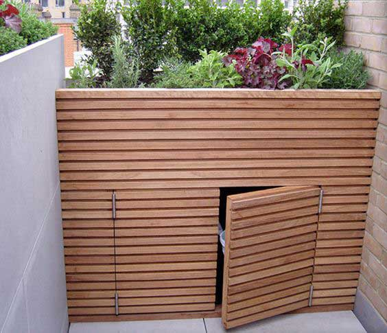 Designer bin storage with kitchen garden