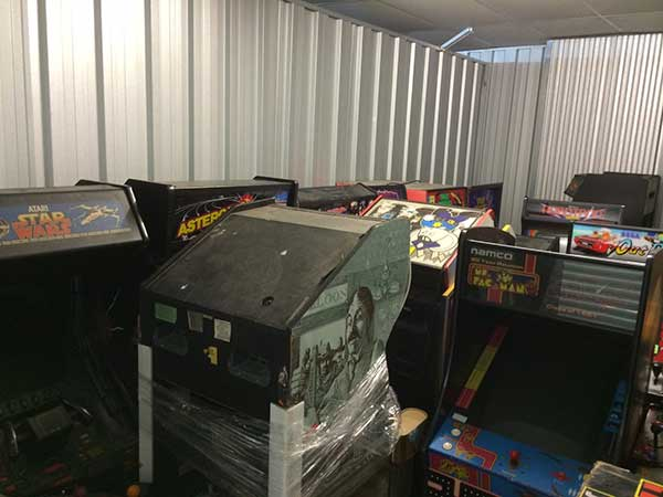 arcade games in self storage unit