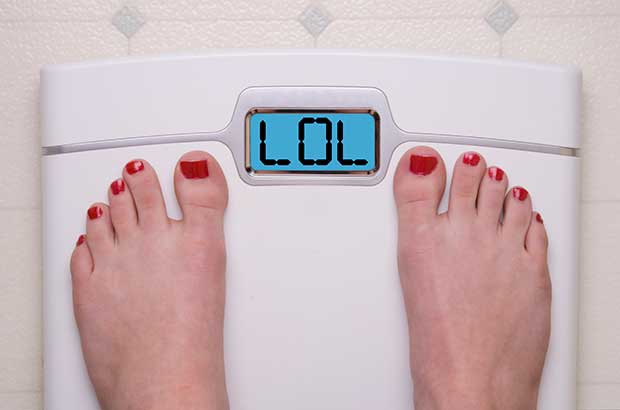 Bathroom scale laughing LOL