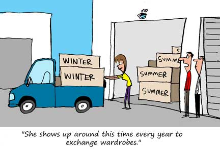 Cartoon Self Storage Swapping Winter and Summer Wardrobes