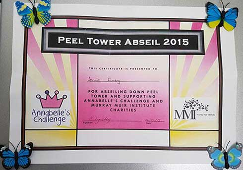 Peel Tower Abseil Certificate