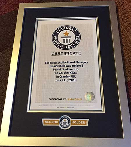 Neil Scallens Guinness World Record Certificate
