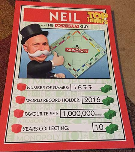 Trump Card Showing number of Monopoly Boards