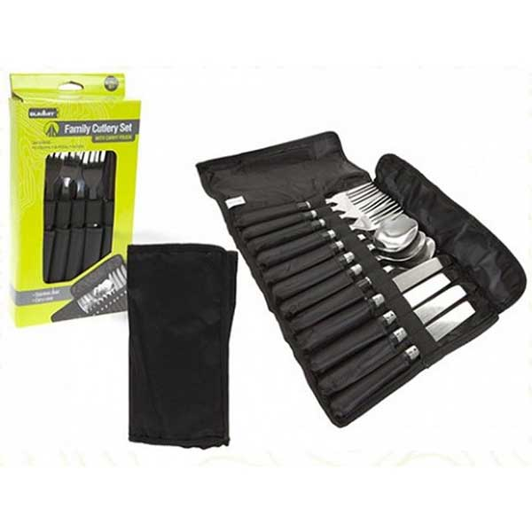 family cutlery set in carrying pouch