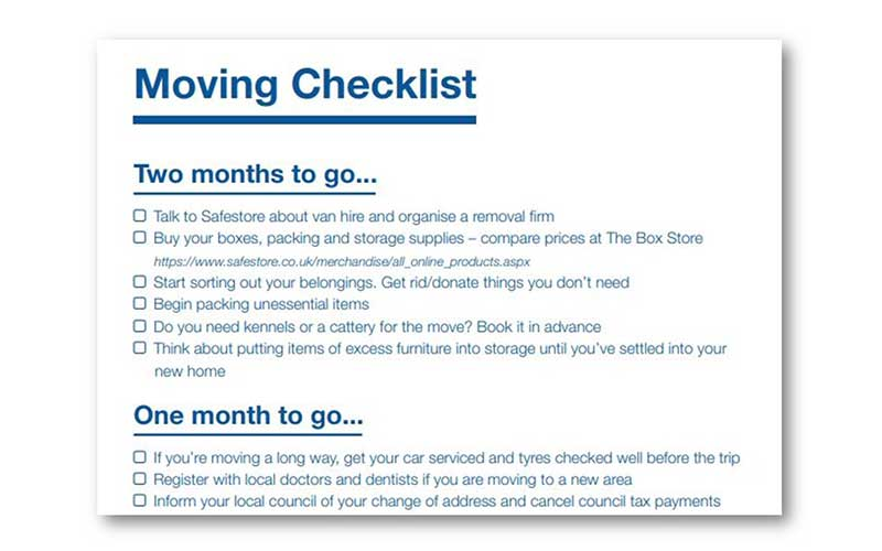 moving house checklist uk 2020